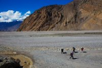 Folded Himalayan Rock Layers at Kali Gandaki in Nepal 2014