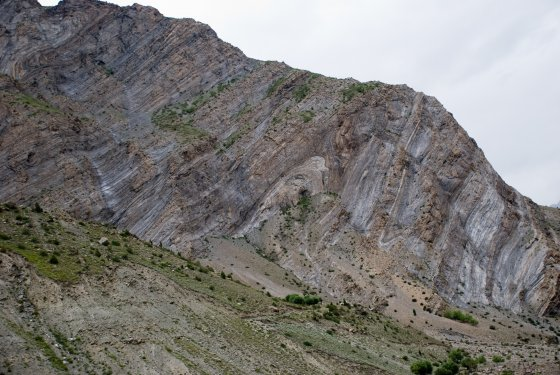 Folded Himalayan Rock Layers near Gushal in India
